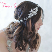 BRIDAL WEDDING HAIR BAND silver plated floral simulated pearl Ribbon tiara Headband Women Party Pageant Crowns hairpiece RE199(China)