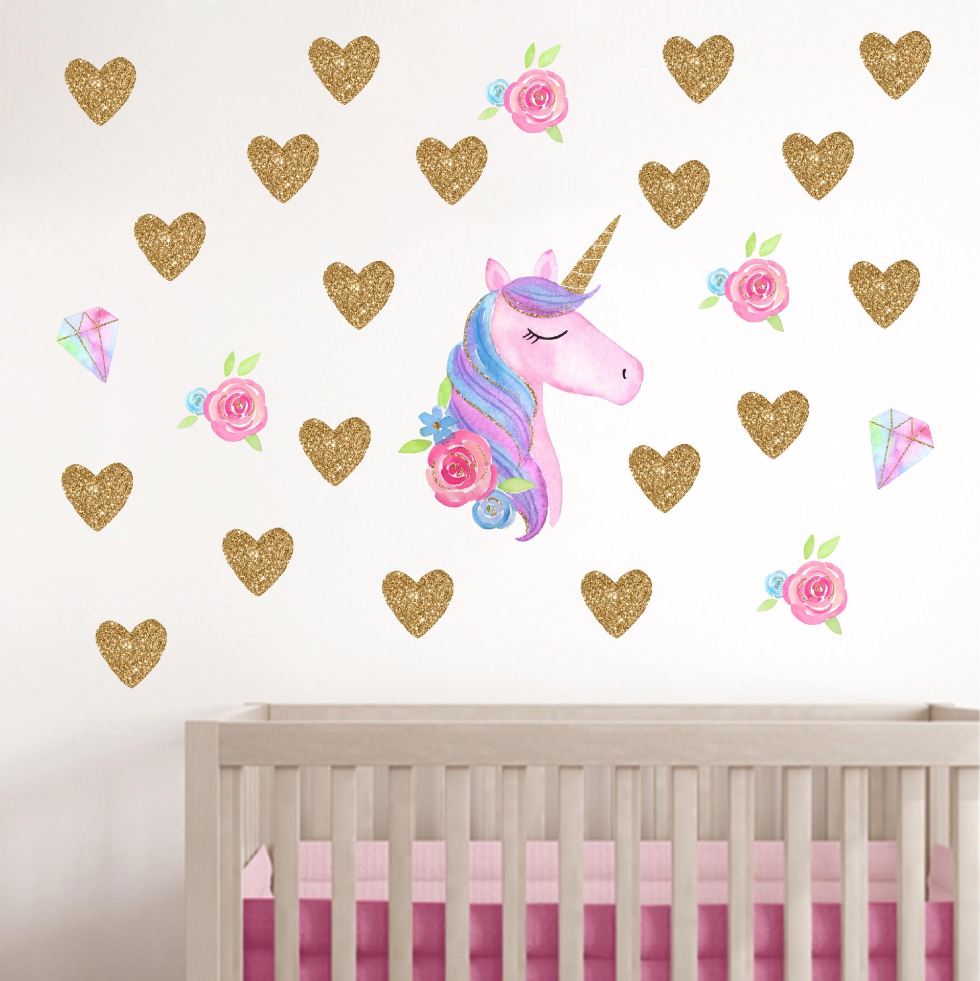 Diy Stars Flower Animals Vinyl Home Wall Decals Kids Room Girls Room Decor 1pc Cartoon Unicorns Flower Wall Stickers