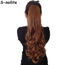 S-noilite Long Wavy Ponytail Synthetic Hair Clip in Hair Extension Natural Hair Pieces Ribbon Wrap Around Black Brown Blonde