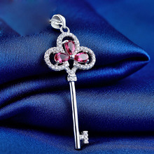LIAMTING 2016 new design 5A color cubic zircon 925 sterling silver key pendant nice gift pendant necklaces chain jewelry  VA016