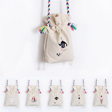 Cute coin bag carton printing Drawstring Pouch Velvet Purse Storage Bag Pouch phone bag canvas shoulder bag