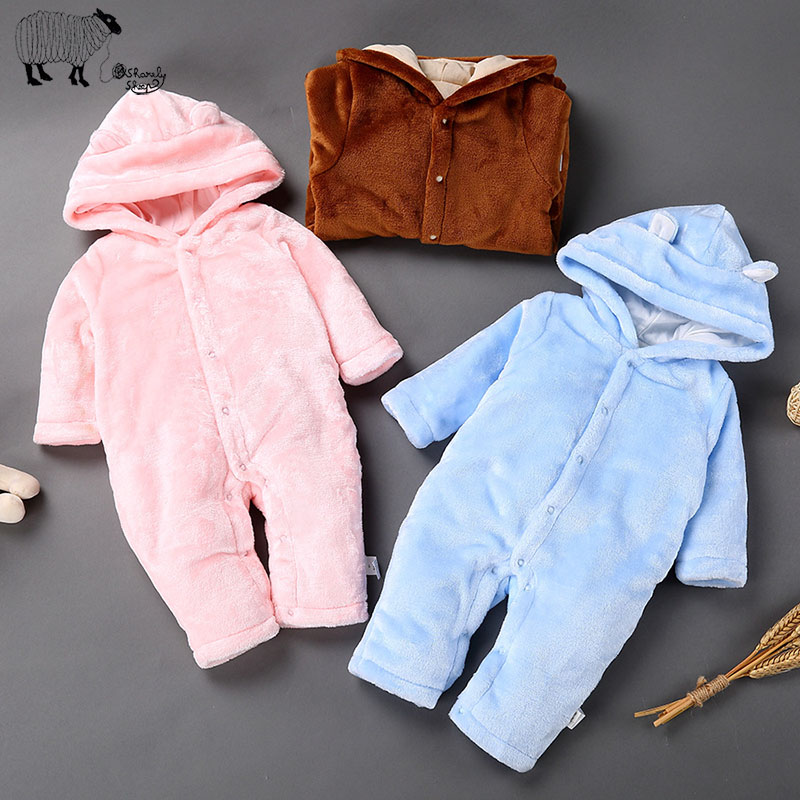 Newborn Baby Girl Boy Long Sleeve Winter Thick Fleece Rompers Clothes Toddler Unisex Baby coral velvet Jumpsuit Coverall costume<br><br>Aliexpress