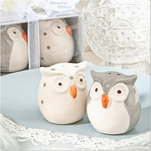 200pcs=100sets/lot Wedding Favors and Gifts Baby Shower Gray and White Color Owl Ceramic Salt and Pepper Shaker Free Shipping(China)