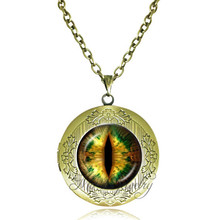 Green black orange dragon cat eye jewellery retro locket necklace round eyeball pendant glass dome necklace best friend gifts(China)