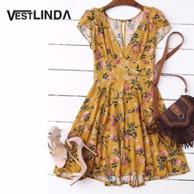 VESTLINDA Cut Out Yellow Floral Dress Summer V Neck Short Sleeves Women Dress 2017 Casual A-Line Mini Dress Boho Beach Vestidos(China)