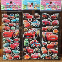 % 3 Sheets/lot 3D Cartoon car wall stickers KidsToys Bubble stickers Teacher Children Gift Reward PVC Sticker Christmas gift