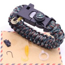 Latest 5 in 1 Multifunction Fishing Line Hook Compass Survival Bracelet Men Outdoor Parachute Cord Whistle Flint Fire Starter