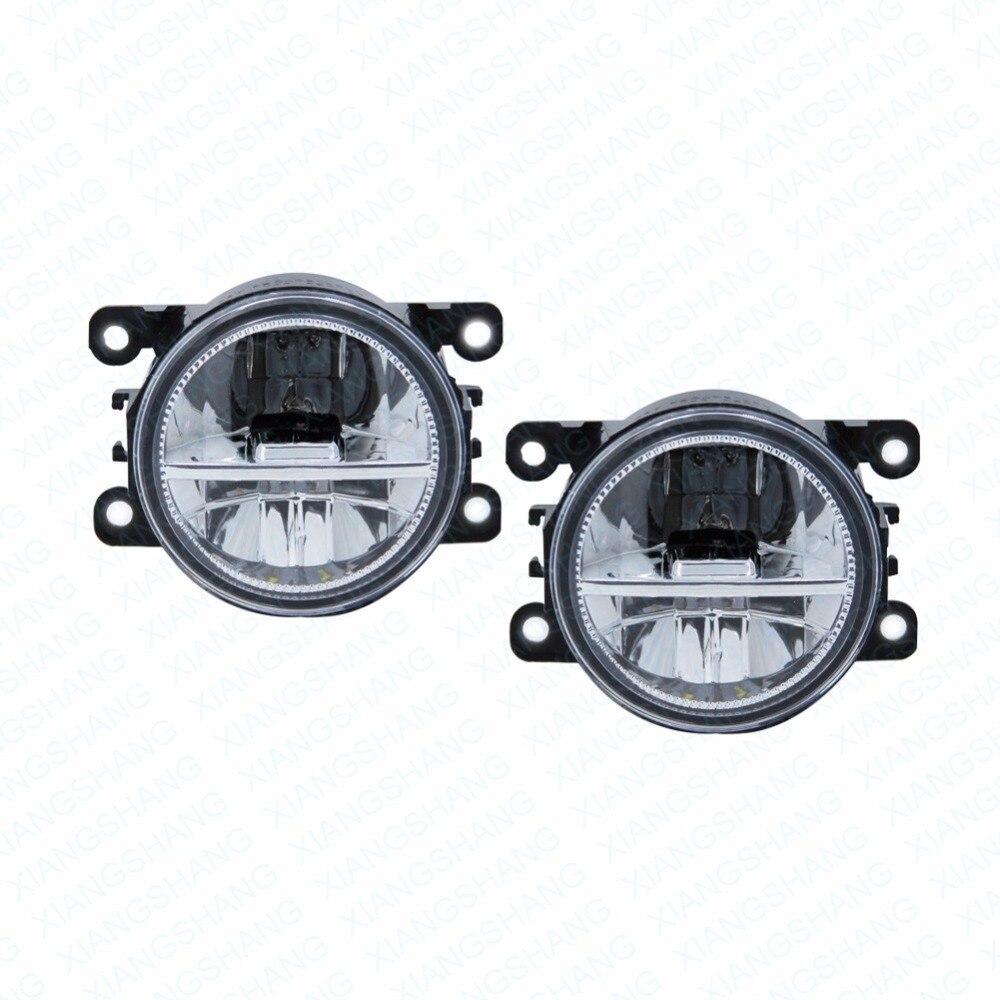 2pcs Car Styling Round Front Bumper LED Fog Lights DRL Daytime Running Driving fog lamps  For Nissan NAVARA (D40) 2005-2006<br>