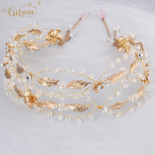 Wedding Tiaras Hair Vine Crystal and Leaf Clarm Gold Color Bridal Headbands Women Hair Jewelry Prom Party Dress Headpiece(China)