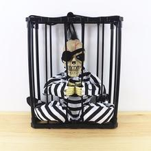 halloween Scary Skull Cage hanging Prisoners Ghost Play Toy with Sound Effect bone prison party decorAtion A15(China)