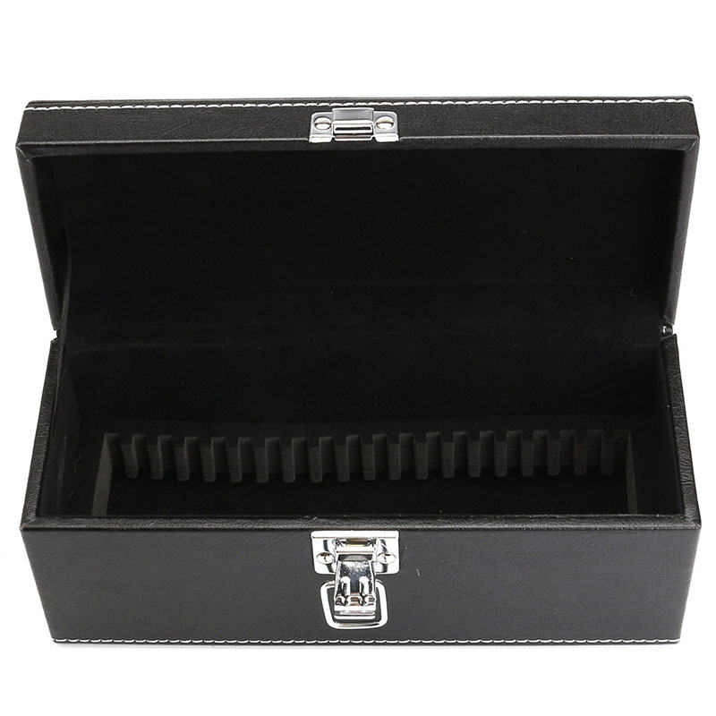 JX-LCLYL 20pcs Coins Slab Storage Box Case Holders Black PU Leather For PCGS NGC