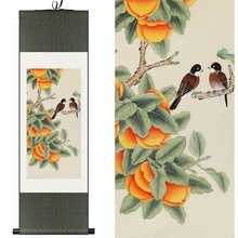 China Chinese Silk watercolor ink Persimmon tree Harvest Fruit Two Birds art canvas wall damask picture framed scroll painting