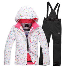 Cheap Women Ski Suit Sets White Dot Ladies Snowboarding Clothing Waterproof Winter Warm Outdoor Girl Snow Jackets and strap Pant