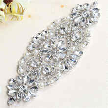 (1piece)Handmade Beaded Sew On Hot Fix Sliver Clear Bling Wedding Crystal  Rhinestone Appliques Patch for Bridal Sash and Belt f4f156e1bb8b