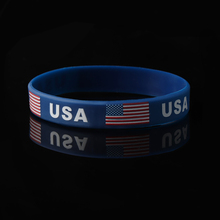 3PCS The American Flag Blue Silicone Bracelet USA Rubber Silica Gel Wristband Jewelry Newest Summer Nice Special Gift For Lover