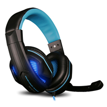 Wired Luminous Gaming Big Earphone volume control headband headset Heavy Bass Light Comfortable Headphone with Mic for Computer