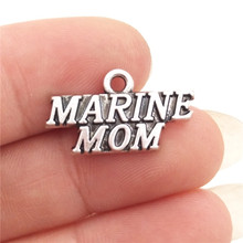 BULK 30pcs Zinc Alloy Metal Words Marine Mom Charms Antique Silver Plated Military Pendant 20*11mm 1.3g