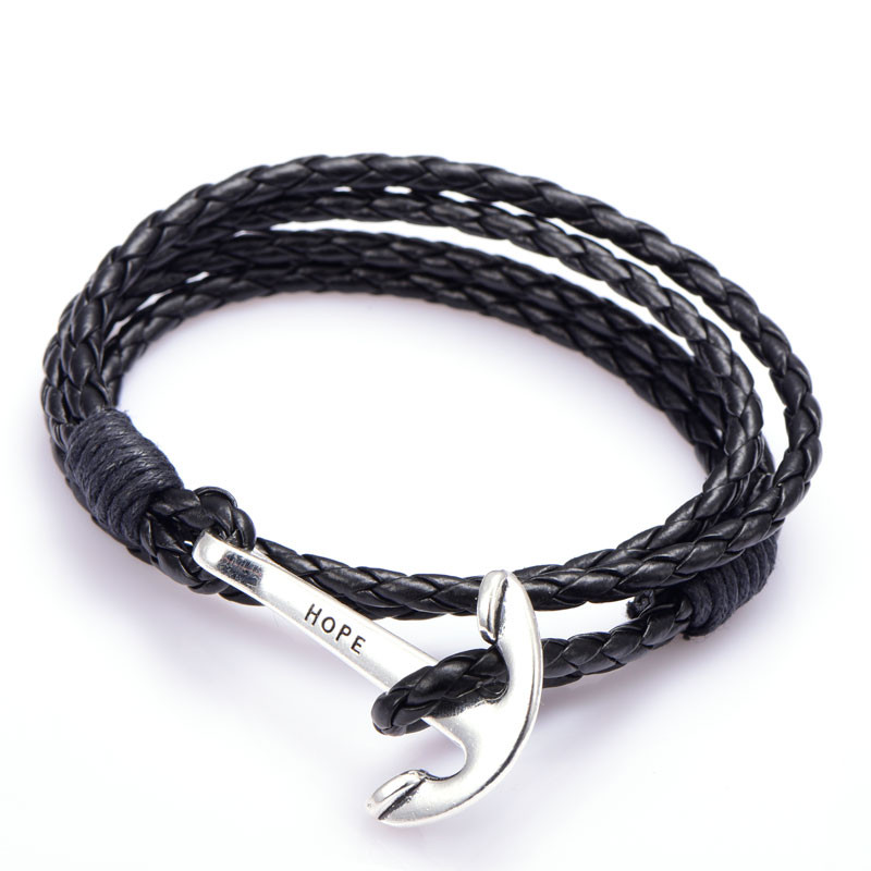 Mens Bracelets Leather Wristband Jewelry 40cm Length Brown PU Rope Silver Anchor Man Charm Braclet Accessories (2)