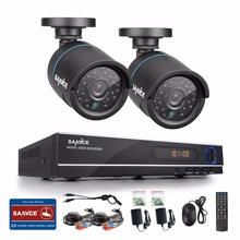 SANNCE New 1080N HD high resolution 8CH CCTV Video security system 2pcs micro camera survelliance kit IR outdoor weatherproof(China)