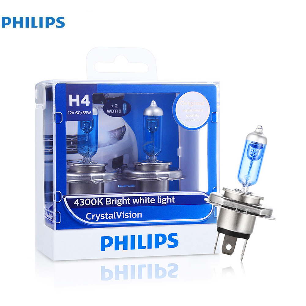 Philips Pairs of H4 12V 55W Car Halogen Headlights 1100LM 4300K Bright White Light Vision Bulb Car Head lights<br>