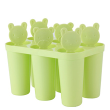 Pink/Blue/Green 6 Cell/Set Bear Shaped Frozen Popsicle Makers Stick Ice Cream Lolly Mold Pop Maker 14.5cm x 9.5cm x 11cm(China)