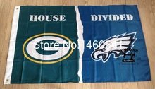 Green Bay Packers Philadelphia Eagles House Divided Flag 3ft x 5ft Polyester NFL Banner Size No.4 144*96cm QingQing Flag(China)