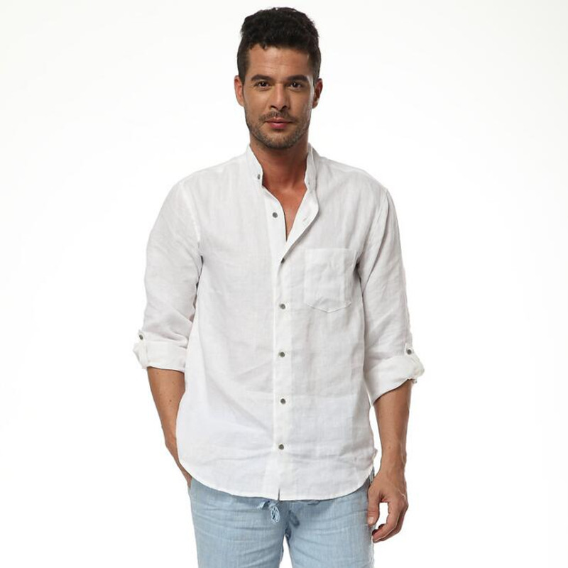 New Arrival Men's High Quality White 100% Linen Shirts Men Slim Casual Shirts White