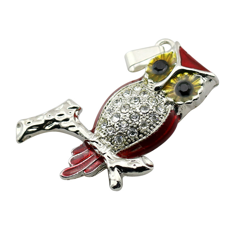 Animal USB Flash Drive Metal Diamond Owl Pendrive Nighthawk Pen Drive 4GB 8GB 16GB 32GB 64GB USB Memory Stick Gift With Necklace 41