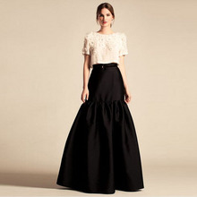 High-End Black Long Skirt European Style Unique Design Saia Faldas Jupe Pleated Maxi Skirt Personalited Women Skirt Custom Made(China)