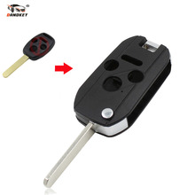 DANDKEY 4 Buttons 3 Button+Panic Folding Flip Remote Key Shell Case for Honda 2003 2008 2009 Accord Cr-V Civic Insight Ridgeline(China)
