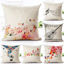 Wholesaler Valentine Day Style Velvet Violin Notes Throw Cushion Case Sofa Home Car Decorative 1 Side Printing Cushion Pillow(China)