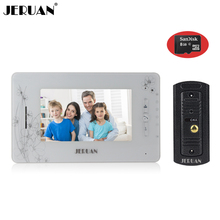 JERUAN 7`` monitor video recording photo taking doorphone speaker intercom system Video door phone intercom+8GB SD Card