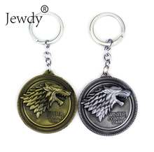 Game Of Thrones wolf keychain Winter Is Coming Stark Wolf Head Key Chains vintage key rings holder for fans fashion jewelry(China)