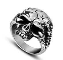 Skull Ring For Men 316L Stainless Steel Fashion jewelry Cool PAW  Silver Men's Punk Skull Head Finger Rings