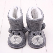 Winter Baby Snow Boots Warm Toddler shoes Baby Girl Shoes Knitted Cartoon Bear first walker Infant Newborn Baby Shoes Footwear