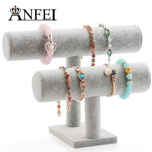 ANFEI Hot Sale New Fashion Gray Velvet Wood 2 Layer T-bar Necklace Chain Bracelet Display Stand Shelf Holder Jewelry Organizer