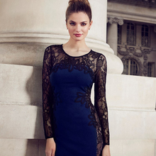 Fashion Vestidos Women Winter Dress 2016 Sexy Black Blue Floral Lace Dress Long Sleeve Bodycon Party Dresses Plus Size Clothing