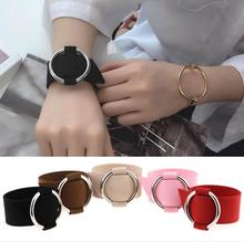 Charm Wide Black Velvet Leather Bracelets Multicolor Metal Silver Big Circle Wrap Bracelet Femme Lace-up Wristband Jewelry T4467