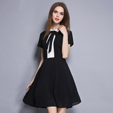 summer 2017 new Europe and the United States sent boutique fashion women's clothing hangzhou bump color bow tie patchwork dress