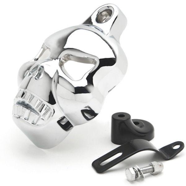 Motorcycle Chrome Skull Head Horn Cover For Harley Davidson Street Glide<br>