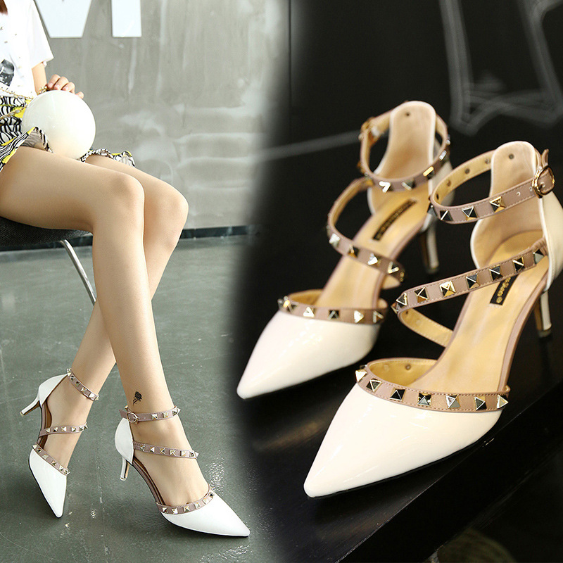 2017 New Summer Style 6cm Shoes Woman White Stilettos Pointed Toe Sandals Buy Online Grey White Red Black Free Shipping<br><br>Aliexpress
