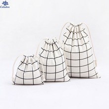 1Pcs White Grey Black Color Happy Gifts Plaid Printed Drawstring bag For Children Ultralight Mesh Clothing Cosmetic Storage Bag(China)