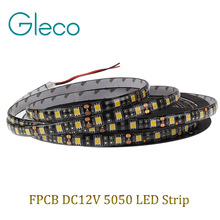 Black FPCB LED strip 5050 12V flexible light,Waterproof IP65,60LED/m,5m 300LED,White,White warm,Red,Green,Blue,RGB,Free shipping