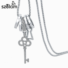 Szelam Crystal Key Necklaces For Women 2017 Fashion Gold/Silver Chain Necklaces & Pendants Colar Famous Brand Jewelry SNE160009