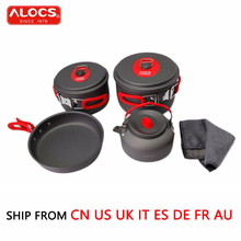 ALOCS 7PCS/Set Outdoor Cookware 3-4 people Pan Kettle Pot Set Beach Camping Picnic Flying Skillet Flambe Pan Cooking Set CW-C06S(China)
