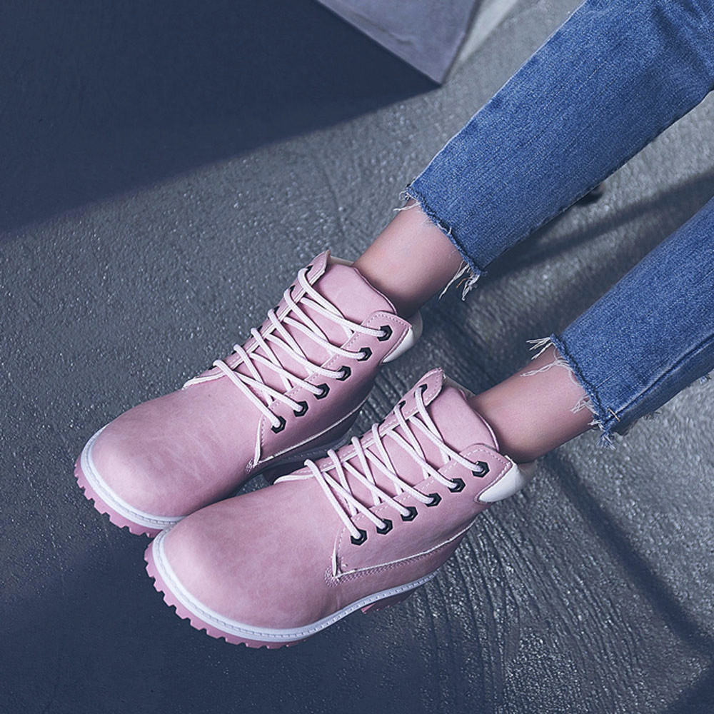 Szyadeou Women Ladies Round Toe Lace-up Faux Boots Ankle Casual Martin Shoes botas mujer invierno kozaki damskie schoenen 30 23