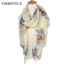 GERINLY Scarf Women Rose Floral Print Scarves Brand New Design Wraps 4 Colors Long Stoles Shawls Bufandas Mujer Foulard Femme