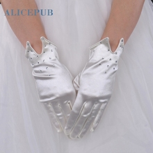 Ivory Satin Wrist Length Bridal Gloves with Rhinestones Bridal Prom Accessories Evening Party Decoration Free Shipping 2017