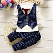 High Quality Infant Outfits Gentleman Baby Boy Clothes Comfortable Newborn Clothing Suits Fake Two-Piece Tops Vest +Pants