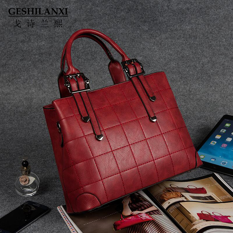Geshilanxi 2017 Top - Handle Bags Famous Brands Women Handbag Designer Totes Female Shoulder Bag Style Crossbody Pu Leather Ms <br>